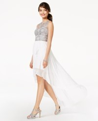 City Triangles Juniors' Embroidered And Embellished High Low Dress White Silver