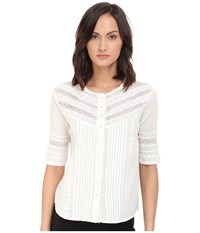 The Kooples Embroidered Cotton Top Ecru Women's Short Sleeve Button Up Khaki