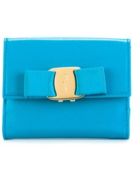 Salvatore Ferragamo Vara French Wallet Women Leather One Size Blue