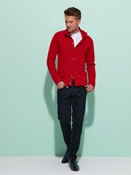 Shanghai Tang Cashmere Silk Buttoned Cardigan With Lattice Silk Lining Red