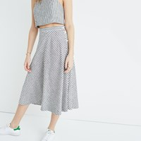 Madewell Side Button Midi Skirt In Rhoda Stripe True Black