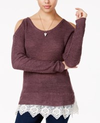 American Rag Cold Shoulder Lace Trim Sweater Only At Macy's Zinfandel