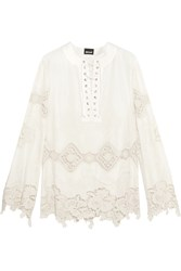 Just Cavalli Embroidered Cotton Blend Lace And Satin Blouse White