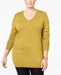 Jm Collection Plus Size V Neck Button Sleeve Sweater Only At Macy's Roman Gold