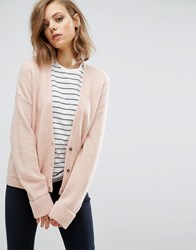 Asos Cardigan In Wool Mix With Pockets Blush Pink