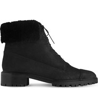 Lk Bennett Alaska Cuffed Nubuck Leather Boots Bla Black
