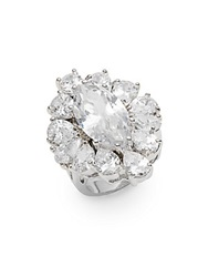 Cz By Kenneth Jay Lane Marquis White Stone Ring Silver