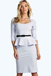 Boohoo Long Sleeve Belted Peplum Midi Dress Pale Blue