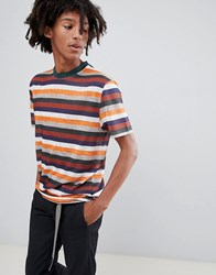 Asos Design Relaxed T Shirt With Retro Stripe In Linen Look Fabric Multi