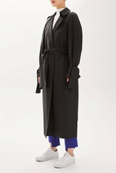 Topshop Tailored Tie Sleeve Duster Coat By Boutique Black