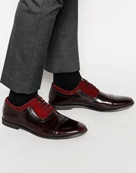 Asos Oxford Shoes In Burgundy Leather And Suede Mix Red