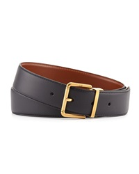 Leather Belt With Roller Buckle Navy Dunhill