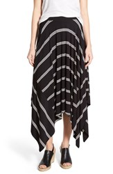 Women's Halogen Stretch Knit Handkerchief Hem Maxi Skirt Black Ivory Triple Stripe