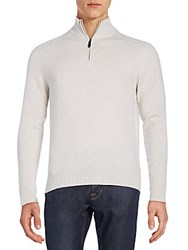 Saks Fifth Avenue Quarter Zip Cashmere Sweater Sandshell