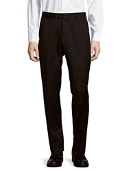 Saks Fifth Avenue Black Flat Front Solid Wool Pants Charcoal