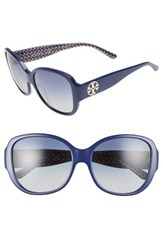Tory Burch Women's 56Mm Gradient Round Sunglasses Navy Blue Zig Zag Navy Blue Zig Zag