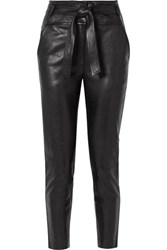Veronica Beard Faxon Belted Leather Slim Leg Pants Black