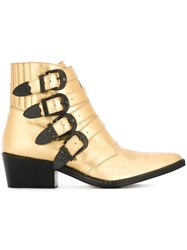 Toga Embossed Buckled Boots Metallic