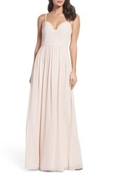 Hayley Paige Occasions Women's Ruffle Detail A Line Chiffon Gown Dusty Rose