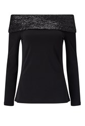 James Lakeland Off The Shoulder Sequin Top Black