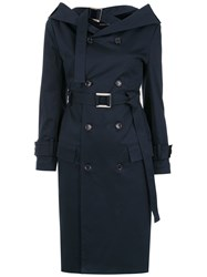Gloria Coelho Off The Shoulder Trench Coat Blue