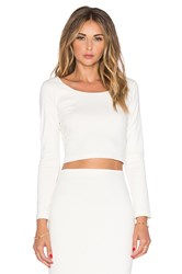 Amanda Uprichard Long Sleeve Crop Top Ivory