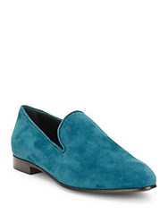 Tod's Leather Almond Toe Loafers Teal
