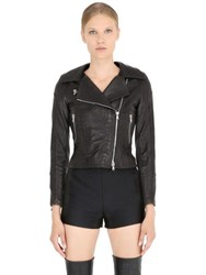 Jose' Sanchez Croc Embossed Nappa Leather Moto Jacket