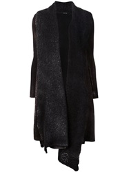 Avant Toi Long Open Front Knit Cardigan Black