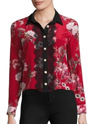 The Kooples Moulin Rouge Printed Silk Shirt Red