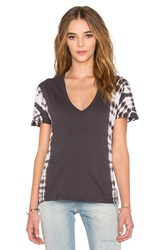 Monrow Oversized V Neck Tee With Border Tie Dye Charcoal