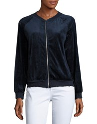 Honey Punch Velour Zip Up Jacket Navy