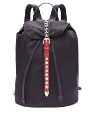 Prada New Vela Studded Nylon Backpack Black Red