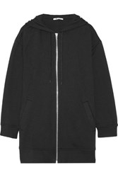 Alexander Wang T By French Cotton Blend Terry Hooded Top Black