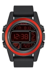 Nixon Men's The Unit Digital Silicone Strap Watch 44Mm Black Red Black