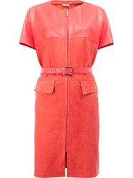 Maison Ullens Belted Leather Dress Pink Purple