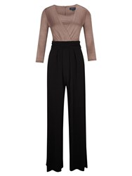 Viyella Contrast Jumpsuit Black Brown