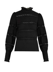 Etoile Isabel Marant Lace Trimmed Long Sleeved Cotton Top Black