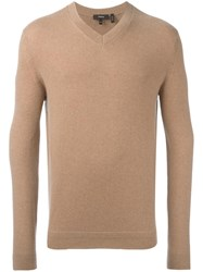 Theory V Neck Jumper Nude Neutrals