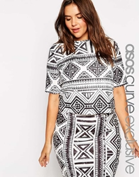 Asos Curve Co Ord T Shirt In Aztec Print Blackwhite