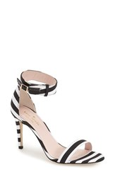 Women's Kate Spade New York 'Isa' Ankle Strap Sandal Black White Stripe Grosgrain