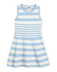 Milly Minis Striped Knit Flare Dress Blue White Size 4 7 Blue White