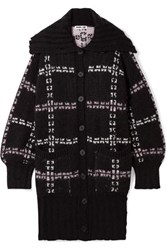 Mcq By Alexander Mcqueen Oversized Checked Jacquard Knit Coat Black