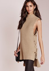 Missguided Chunky Sleeveless Eyelet Tunic Camel Beige