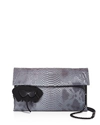Christian Siriano Karima Metallic Faux Snake Clutch Compare At 150 Pewter