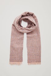 Cos Checked Wool Cashmere Scarf Blue