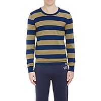 Visvim Men's Block Stripe Long Sleeve T Shirt Blue