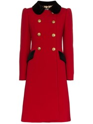 Dolce And Gabbana Double Breasted Contrast Collar Wool Blend Coat Red