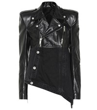 Unravel Leather And Denim Jacket Black