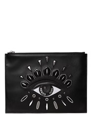 Kenzo Eye Embroidered Leather Pouch Black